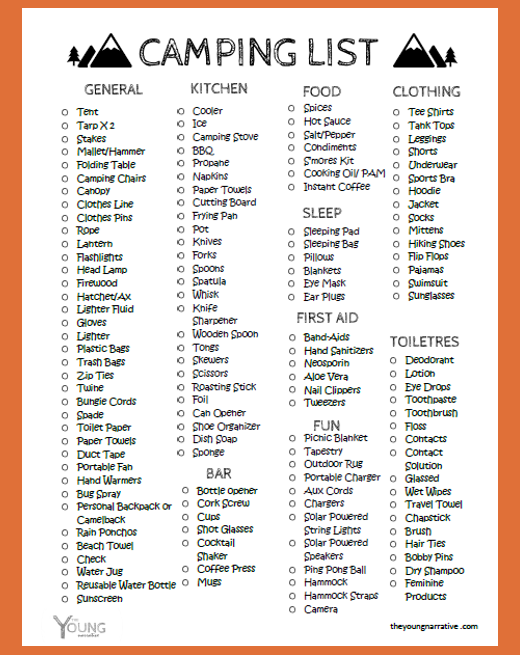 free printable the ultimate car camping checklist the young narrative
