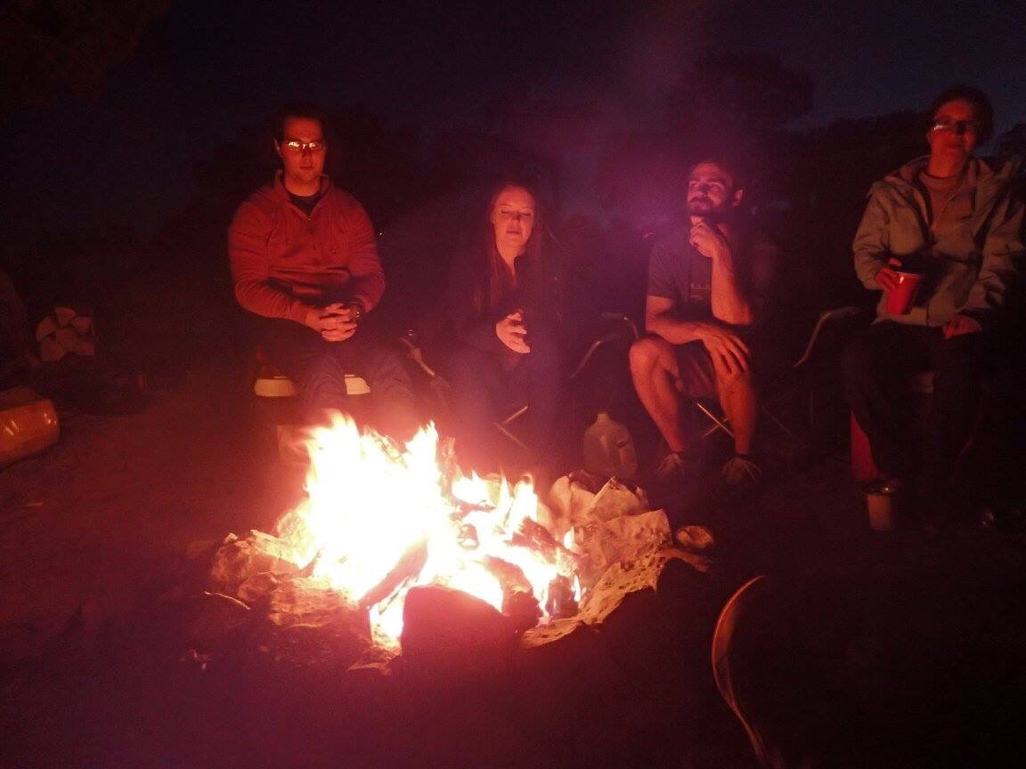 Fall camping campfire friends