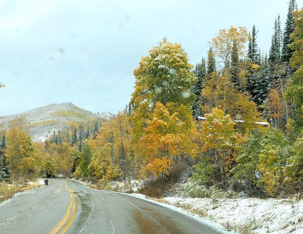 Ski town in fall