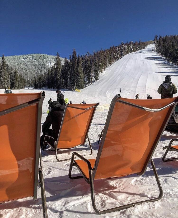 Keystone spring skiing outdoor seating