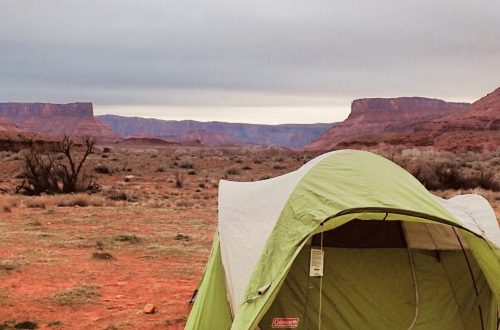 Camping in the desert cover tent in Moab