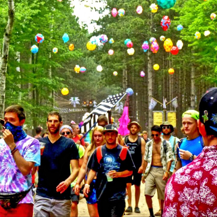 walking into set at camping music festival Electric Forest