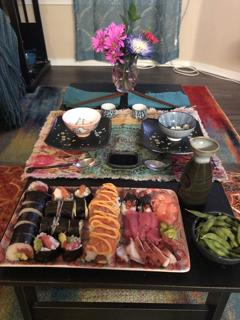 Save money with themed food at home, sushi, Japanese theme.