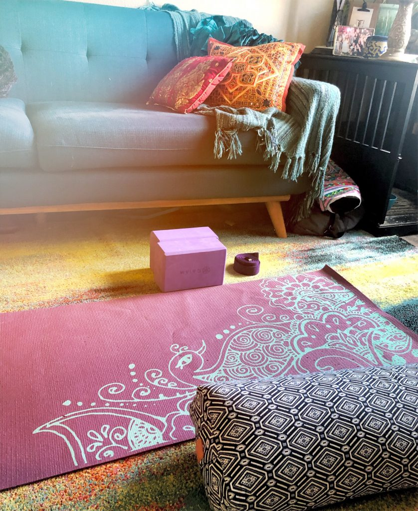 Coach and Yoga set up for being stuck at home